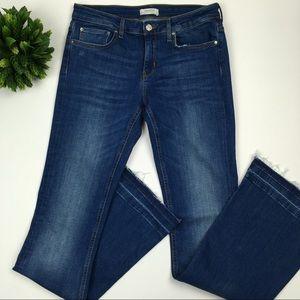 Zara women premium denim blue wash flared jeans